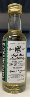 Glen Spey 2001, 16yo, 54,7%. Cadenheads Authentic Collection Mini Bottle. 5cl.